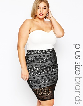 photo Bandeau Dress with Lace Skirt by Lipstick Boutique Plus, color Cream Black - Image 1