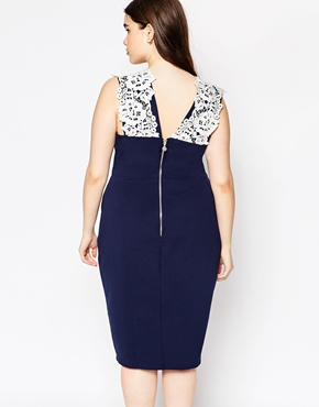 photo Floral Lace Pencil Dress by Lipstick Boutique Plus, color Navy - Image 2