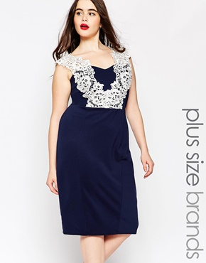 photo Floral Lace Pencil Dress by Lipstick Boutique Plus, color Navy - Image 1