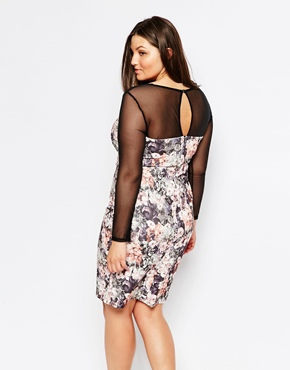 photo Floral Pencil Dress with Mesh Sleeves by Lipstick Boutique Plus, color Floral - Image 2