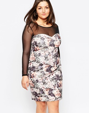 photo Floral Pencil Dress with Mesh Sleeves by Lipstick Boutique Plus, color Floral - Image 1