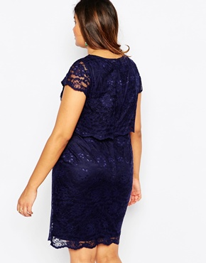 photo Lace Layered Bodycon Dress by Lipstick Boutique Plus, color Navy - Image 2