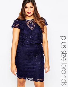 photo Lace Layered Bodycon Dress by Lipstick Boutique Plus, color Navy - Image 1