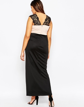 photo Lace Overlay Sweetheart Maxi Dress by Lipstick Boutique Plus, color Black - Image 2
