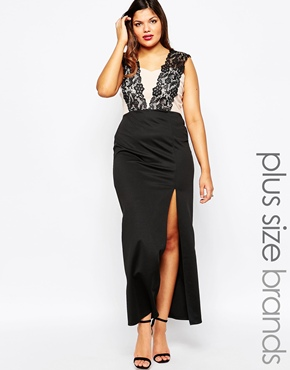 photo Lace Overlay Sweetheart Maxi Dress by Lipstick Boutique Plus, color Black - Image 1