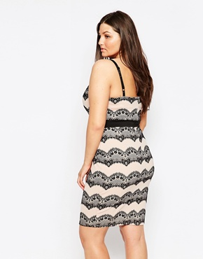photo Lace Patterned Pencil Dress by Lipstick Boutique Plus, color Black Nude - Image 2