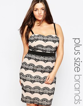 photo Lace Patterned Pencil Dress by Lipstick Boutique Plus, color Black Nude - Image 1