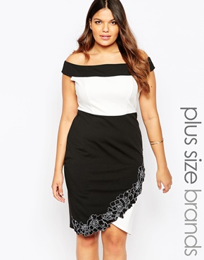 photo Lace Trim Bardot Pencil Dress by Lipstick Boutique Plus, color Black White - Image 1