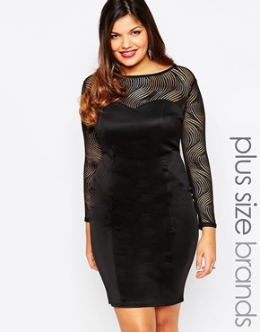 photo Long Sleeve Bodycon Dress by Lipstick Boutique Plus, color Black - Image 1