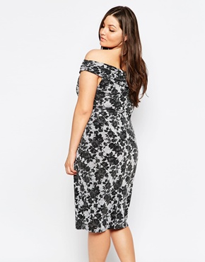 photo Off Shoulder Floral Lace Pencil Dress by Lipstick Boutique Plus, color Grey Marl - Image 2
