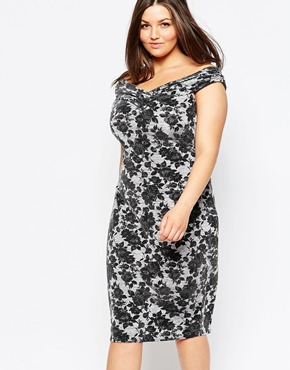 photo Off Shoulder Floral Lace Pencil Dress by Lipstick Boutique Plus, color Grey Marl - Image 1