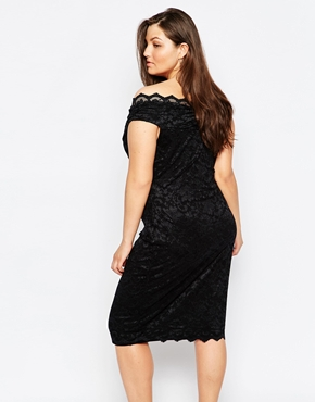 photo Off Shoulder Lace Pencil Dress by Lipstick Boutique Plus, color Black - Image 2