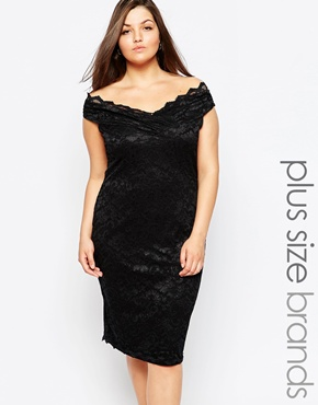 photo Off Shoulder Lace Pencil Dress by Lipstick Boutique Plus, color Black - Image 1