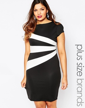 photo Stripe Detail Pencil Dress by Lipstick Boutique Plus, color Black White - Image 1