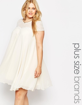 photo Swing Dress with Lace Neckline by Lipstick Boutique Plus, color Cream - Image 1