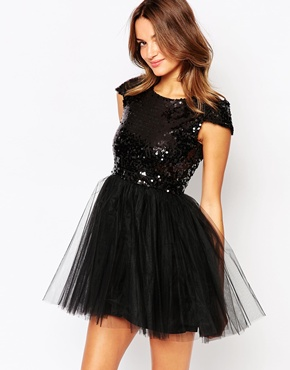 photo Carrie Dress with sequin Top and Tulle Skirt by Little Black Dress, color Black - Image 1