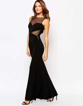 photo Jennifer Maxi Dress with Lace Inserts by Little Black Dress, color Black - Image 1