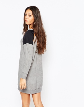 photo Sweater Dress with Contrast Sleeves by LNA, color Heather Grey - Image 2