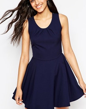 photo Amber Skater Dress with Mesh Back by Lovestruck, color Navy - Image 2