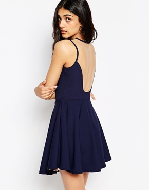 photo Amber Skater Dress with Mesh Back by Lovestruck, color Navy - Image 1