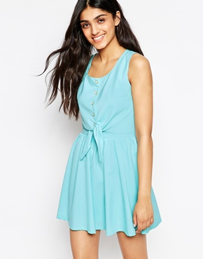 photo Pippa Shirt Dress with Tie Front by Lovestruck, color Mint - Image 1