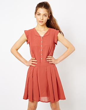 photo Victoria Skater Shirt Dress by Lovestruck, color Rust - Image 1