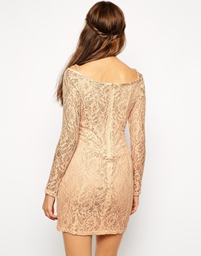 photo Maggie Off Shoulder Lace Dress by Lydia Bright, color Peach - Image 2