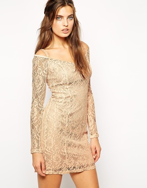 photo Maggie Off Shoulder Lace Dress by Lydia Bright, color Peach - Image 1