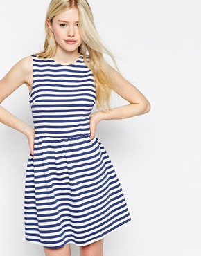 photo Stripe Dress with Low Back by Max C London, color Navy - Image 2