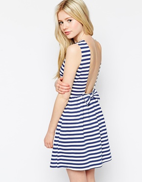 photo Stripe Dress with Low Back by Max C London, color Navy - Image 1