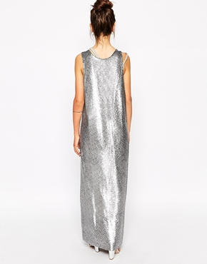 photo Maxi Dress in Matt Sequins by Native Rose, color Silver - Image 2