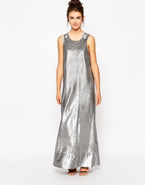 photo Maxi Dress in Matt Sequins by Native Rose, color Silver - Image 1