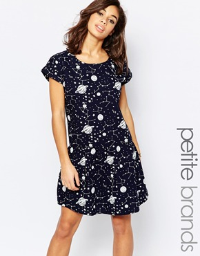 photo Cosmo Short Sleeve Shirt Dress by Noisy May Petite, color Black White - Image 1