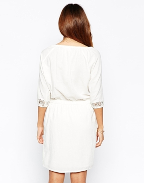photo 3/4 Sleeve Boho Dress with Embroidered Detail by Object, color Egret - Image 2