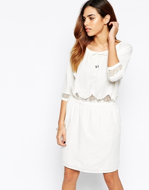 photo 3/4 Sleeve Boho Dress with Embroidered Detail by Object, color Egret - Image 1