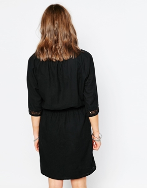 photo 3/4 Sleeve Boho Dress with Embroidered Detail by Object, color Black - Image 2