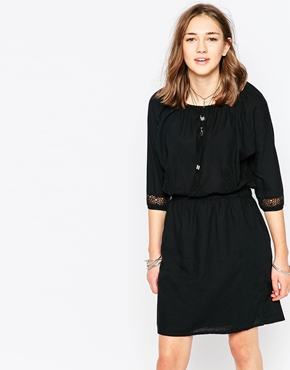 photo 3/4 Sleeve Boho Dress with Embroidered Detail by Object, color Black - Image 1