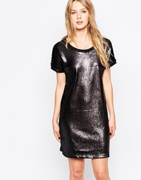 photo All Over Sequin Sweat Dress by Object, color Black - Image 1