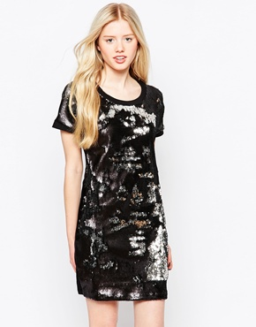 photo All Over Sequin Sweat Dress by Object, color Antique Silver - Image 1