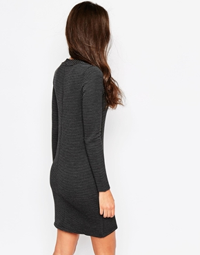 photo High Neck Long Sleeve Tunic Dress by Object, color Black - Image 2
