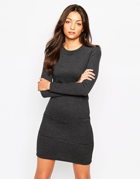 photo High Neck Long Sleeve Tunic Dress by Object, color Black - Image 1