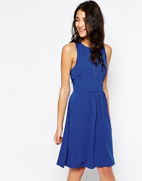 photo Cut Out Back Sleeveless Dress by Pieces, color Blue - Image 1