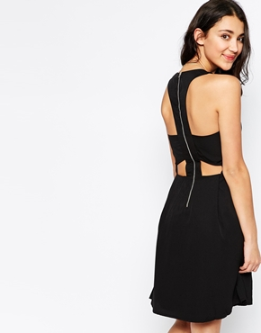 photo Cut Out Back Sleeveless Dress by Pieces, color Black - Image 1