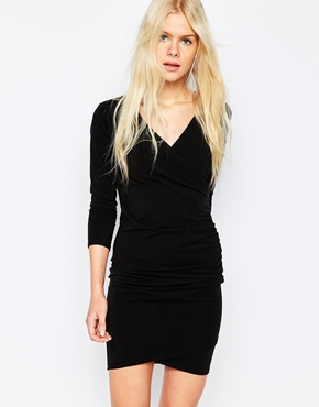 photo Jersey Metallic Wrap Dress by Pieces, color Black - Image 1