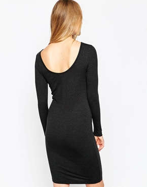 photo Long Sleeve Jersey Dress by Pieces, color Dark Grey - Image 2
