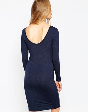 photo Long Sleeve Jersey Dress by Pieces, color Navy - Image 2