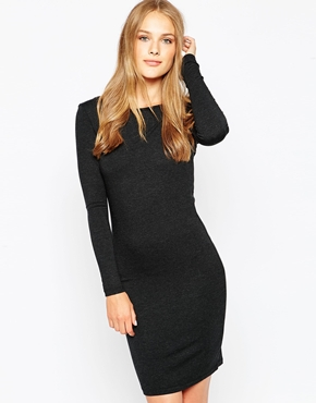 photo Long Sleeve Jersey Dress by Pieces, color Dark Grey - Image 1