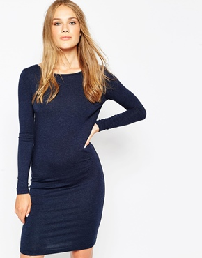 photo Long Sleeve Jersey Dress by Pieces, color Navy - Image 1