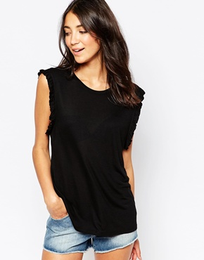 photo Sleeveless Ruffle Jersey Top by Pieces, color Black - Image 1