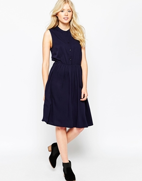 photo Sleeveless Skater Dress by Pieces, color Navy - Image 1